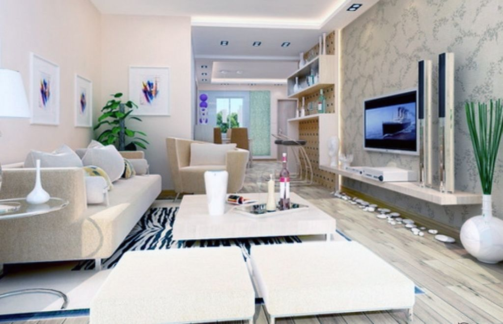 Светлая гостиная в стиле конструктивизма