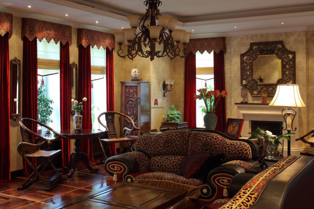 Интерьера гостиной дома в восточном стиле