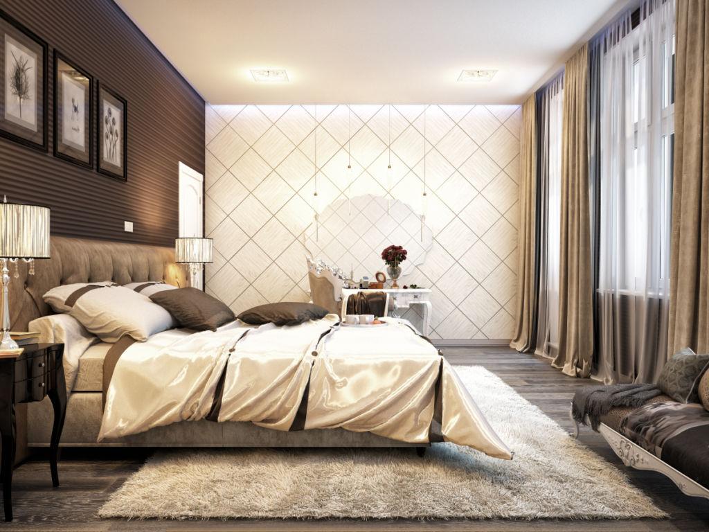Учитывая особенности этого цвета, необходимо хорошо осветить потолок и стены спальни