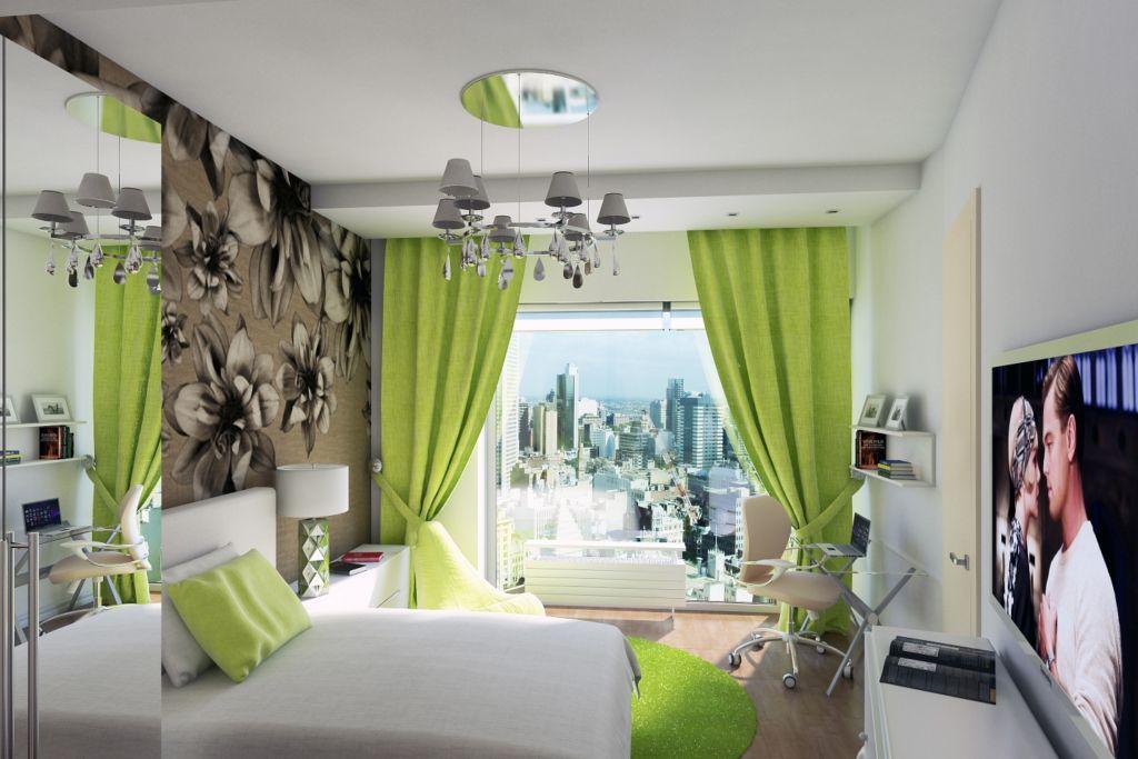 Интерьер бежево-зеленой спальни