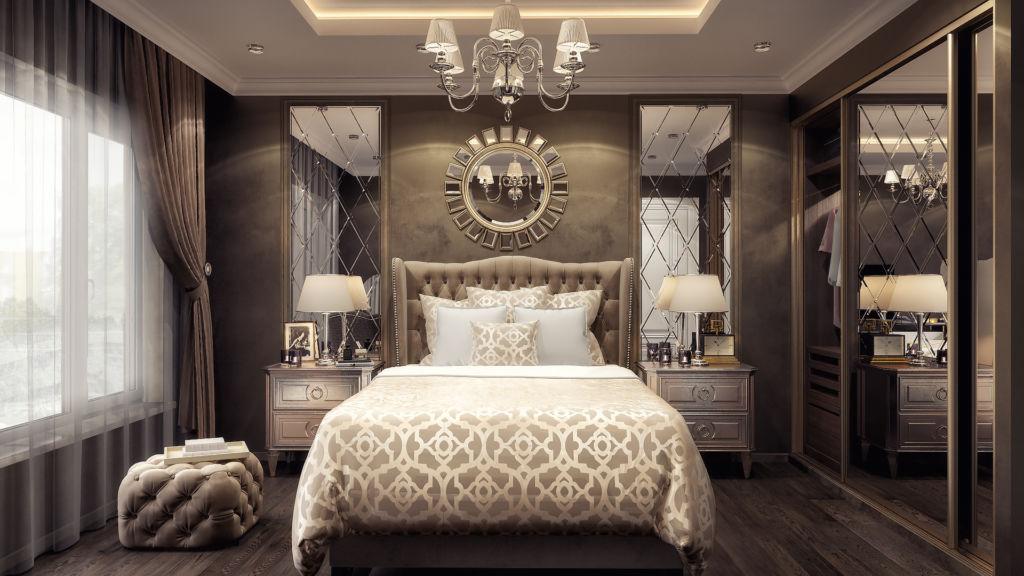 Большие зеркала в спальне стиля модерн