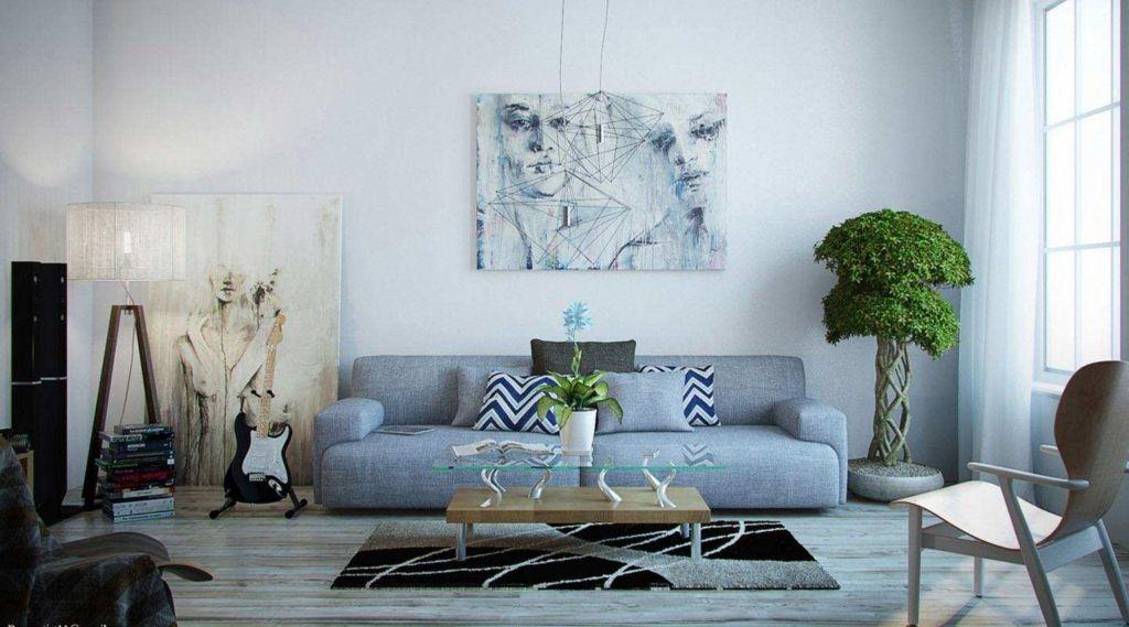 Для голубой гостиной, оформленной в светлых тонах, отличным вариантом станет мягкая мебель синего цвета
