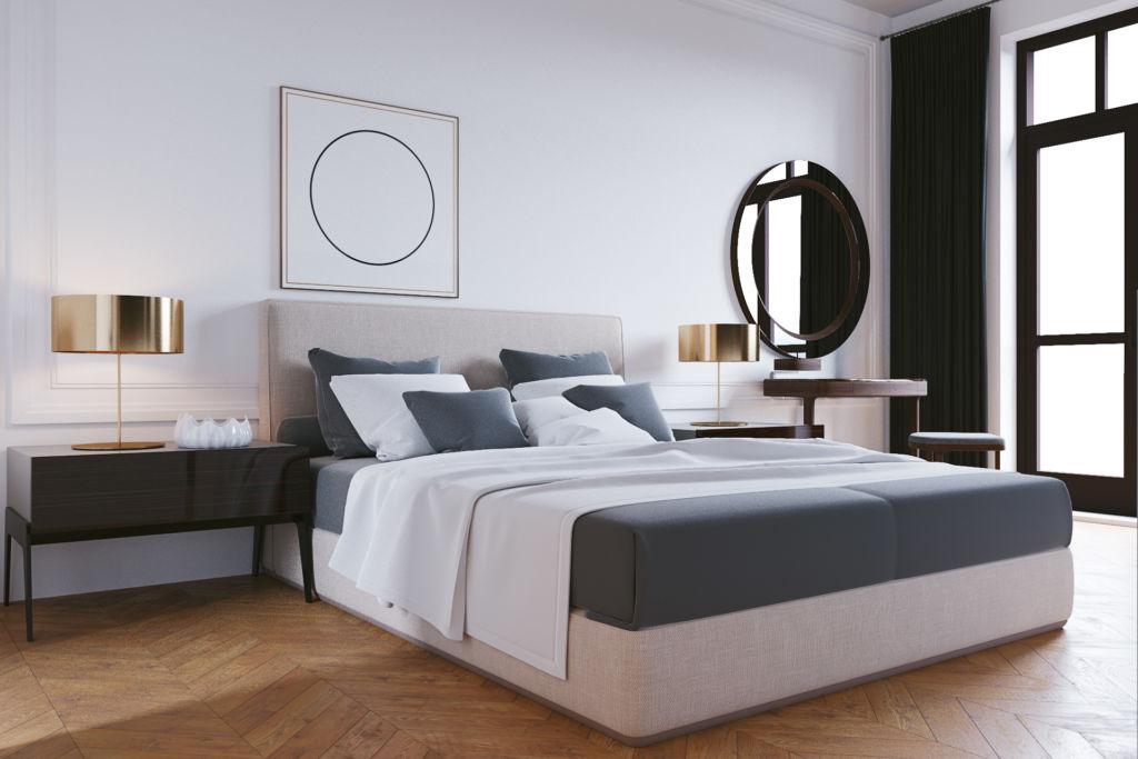 Зеркало в спальне стиле модерн