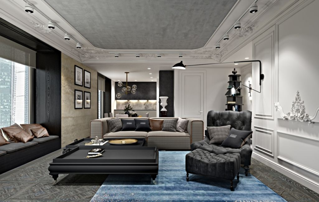 Прямоугольная гостиная в стиле неоклассика