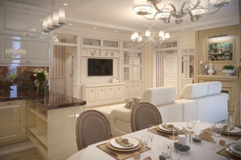 Отделка кухни-гостиной в классическом стиле