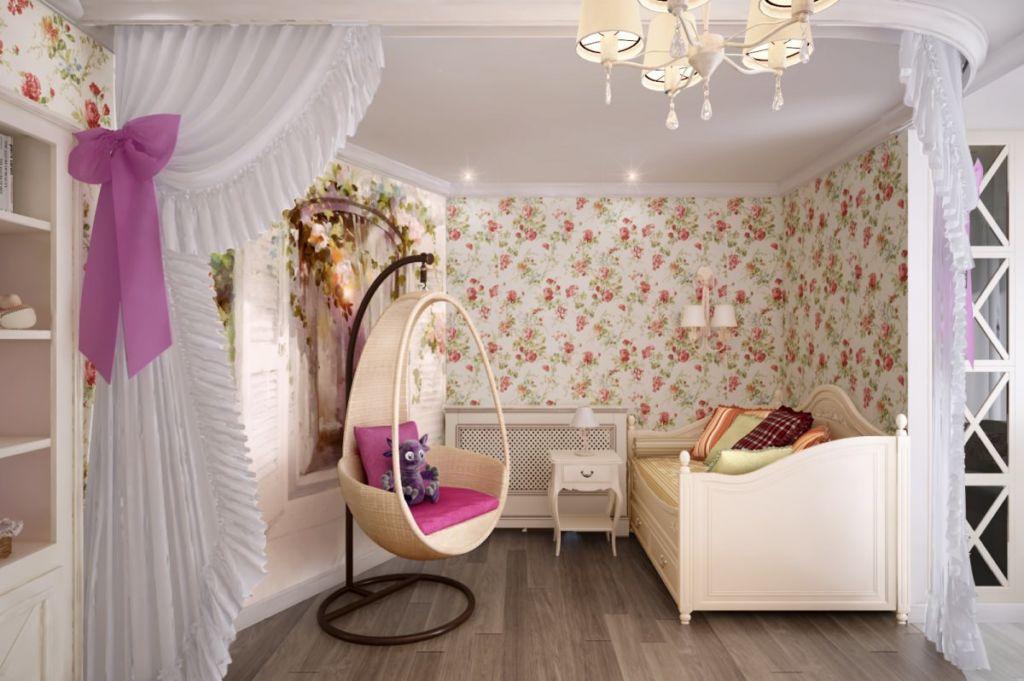 Простота и элегантность спальни для девочки в стиле кантри