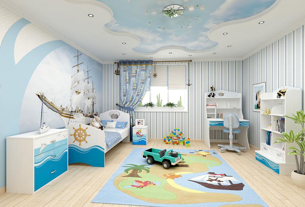 Морской стиль оформления детской комнаты фотообоями и ярким декором