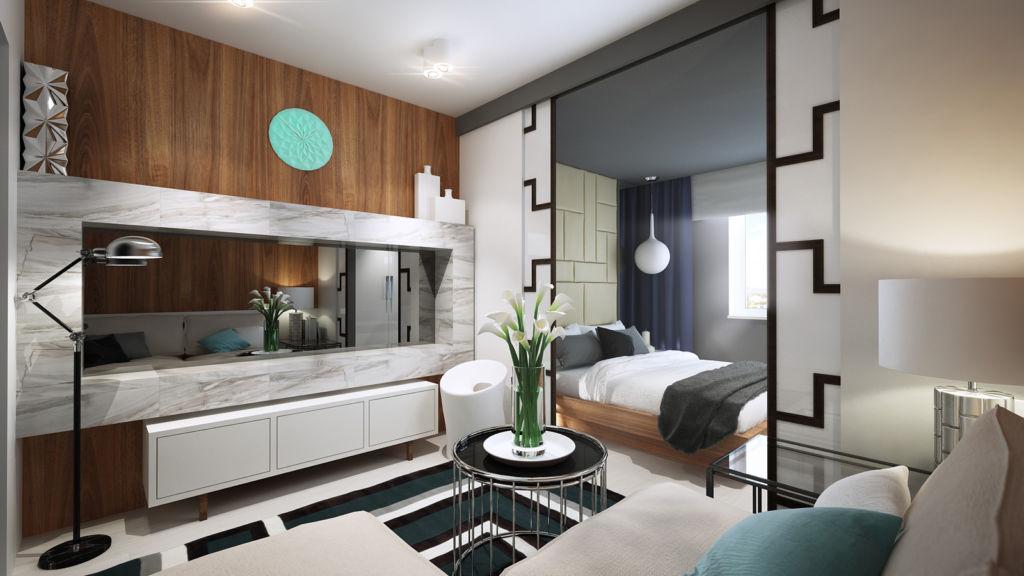 Не следует загромождать территорию, так как совместить гостиную и спальню нужно максимально комфортно