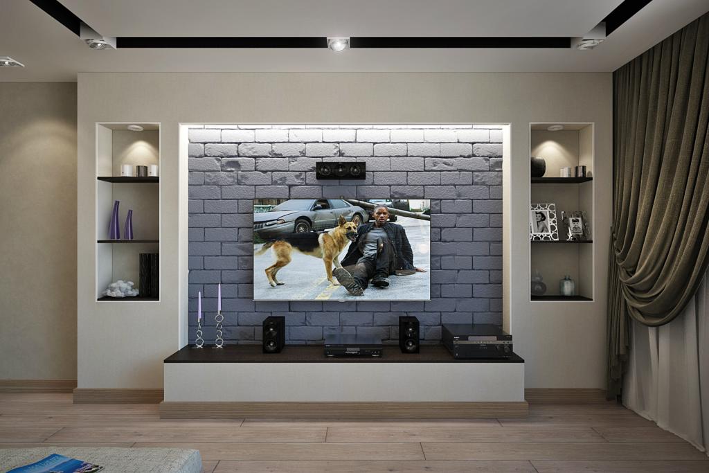 Вариант оформления ниши для телевизора из гипсокартона
