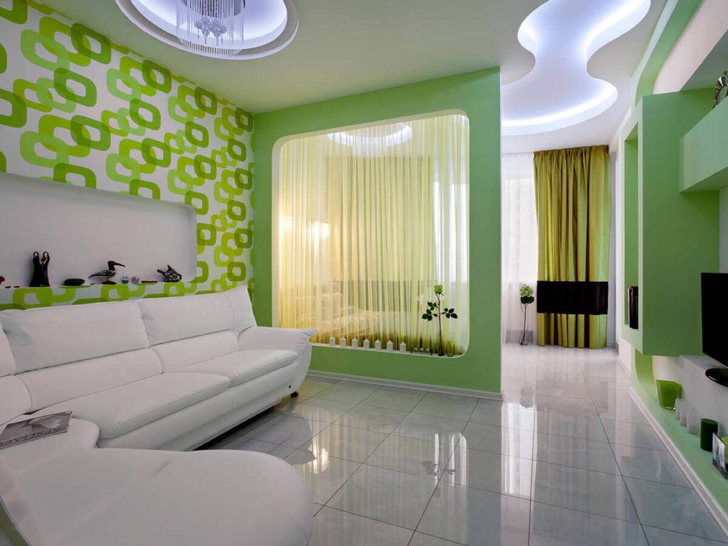 Дизайн спальни-гостиной 20 кв. м в зеленых тонах