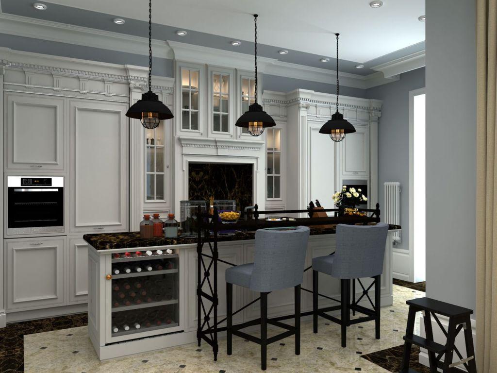 Белая классическая кухня с барной стойкой на острове