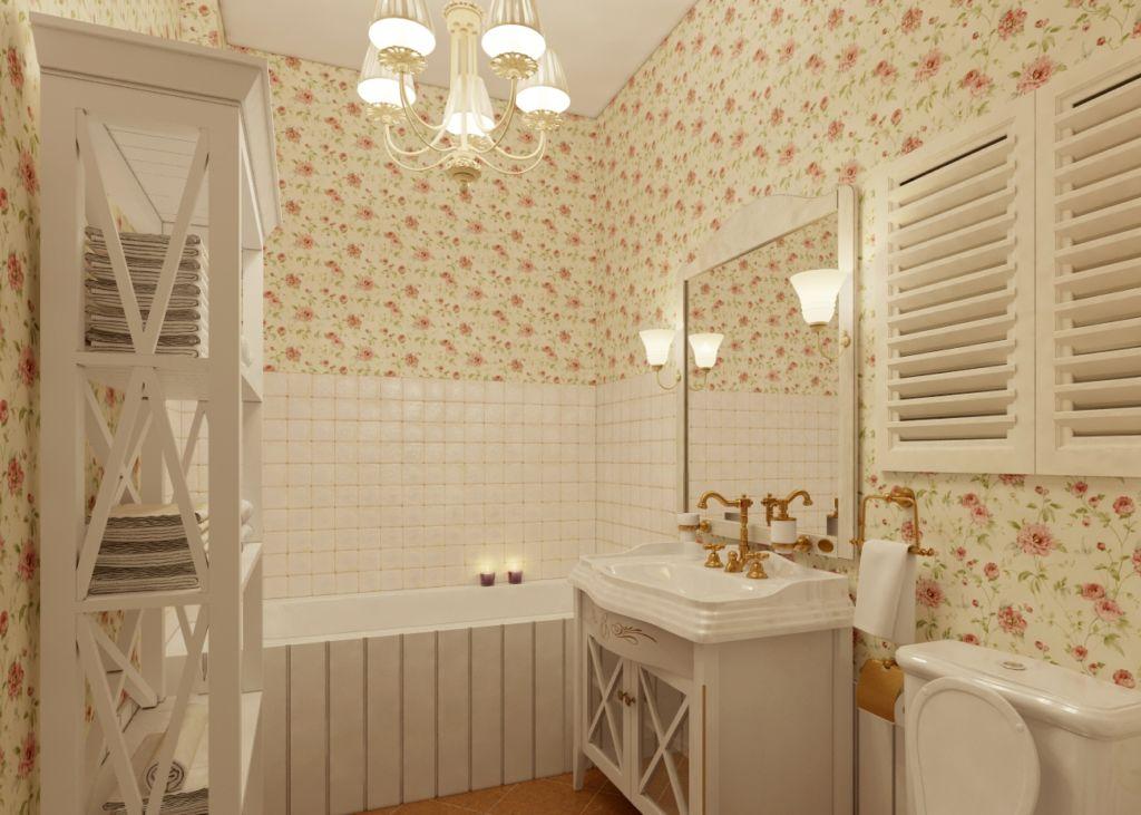 Небольшую ванную можно оформить в светлых тонах в стиле кантри
