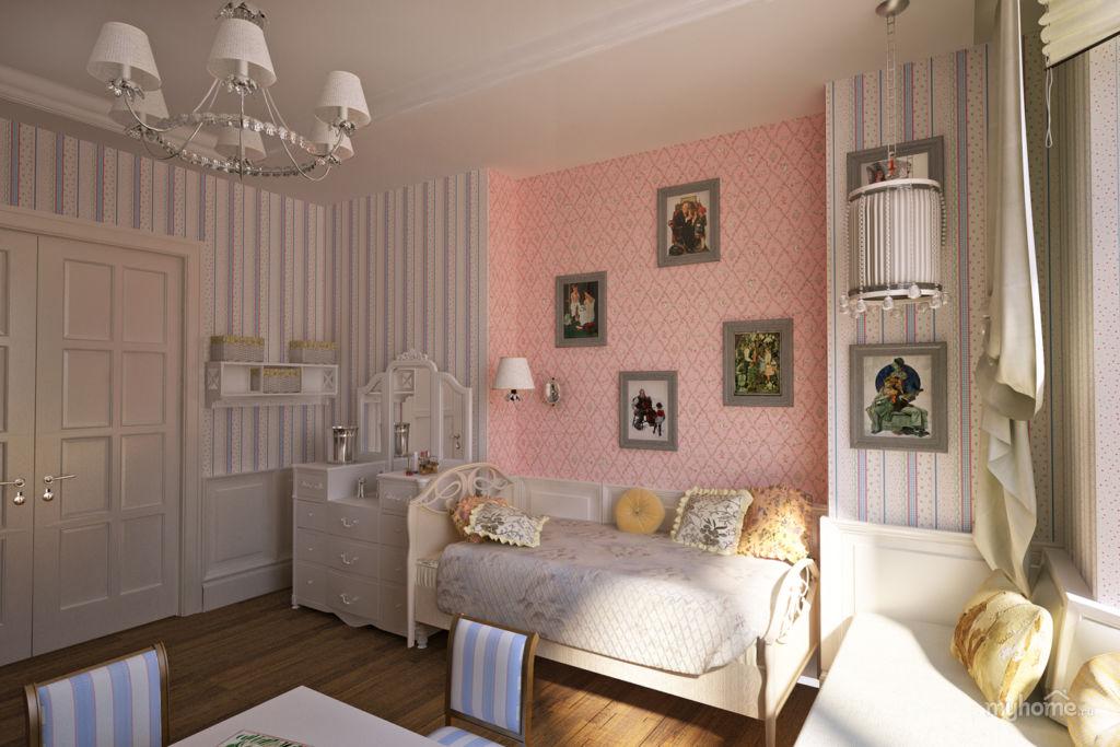 Серая детская комната в классическом стиле