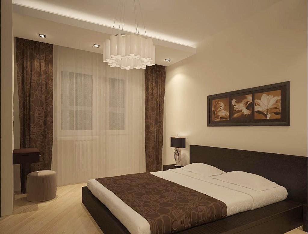 Спокойная спальня в коричневых тонах