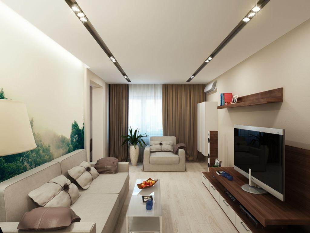 Для минималистичной обстановки гостиной больше всего подходит рассеянное освещение