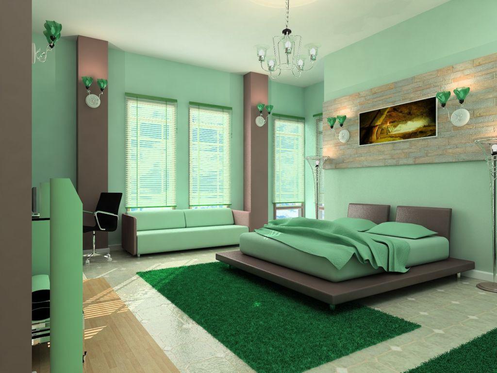 Необычный интерьер зеленой спальни