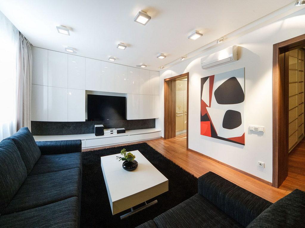 Интерьер гостиной в стиле минимализм предполагает минимум каких-либо элементов декора