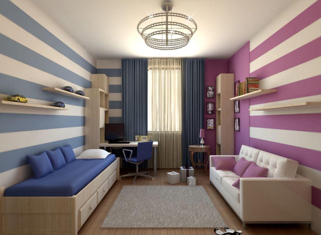 Комната для двоих детей, зонирование с полосатыми обоями
