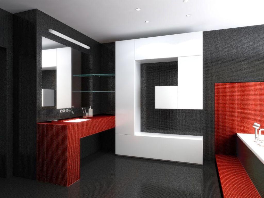 Черно-белая ванная в стиле хай тек с ярким акцентом