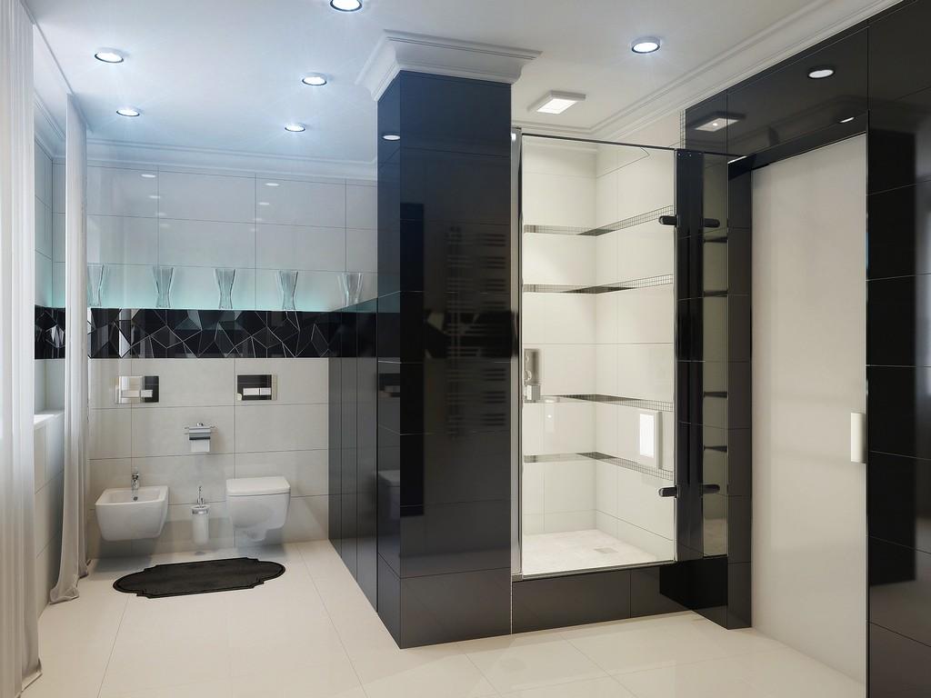 Света в такой ванной должно быть достаточно, чтобы интерьер не выглядел мрачно и неуютно