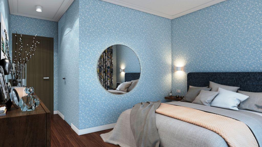 Голубые обои для небольшой спальни
