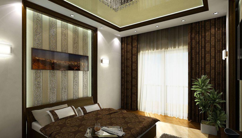 Прямые коричневые шторы с узором и тюлью в спальню