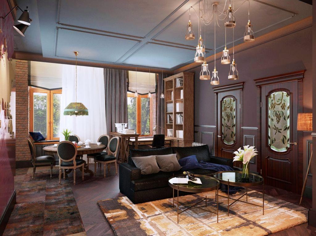 По правилам хорошего тона ключевым элементом обстановки гостиной с двумя окнами является набор мебели для гостевой зоны