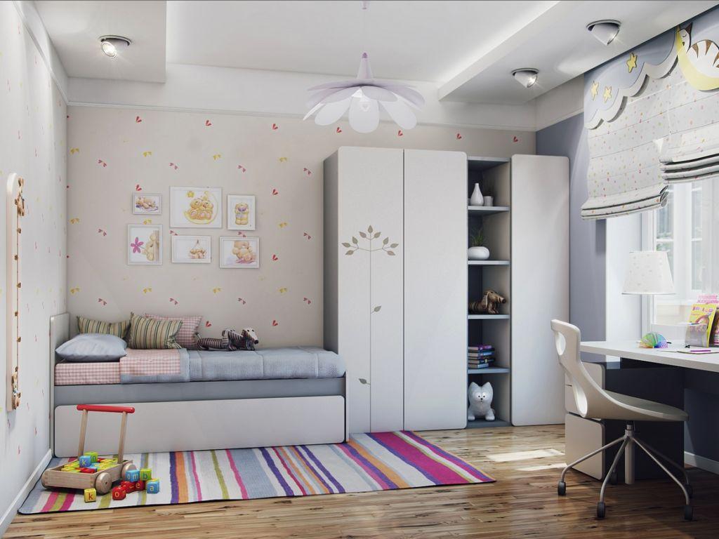 Интерьер серой детской комнаты в современном стиле минимализм
