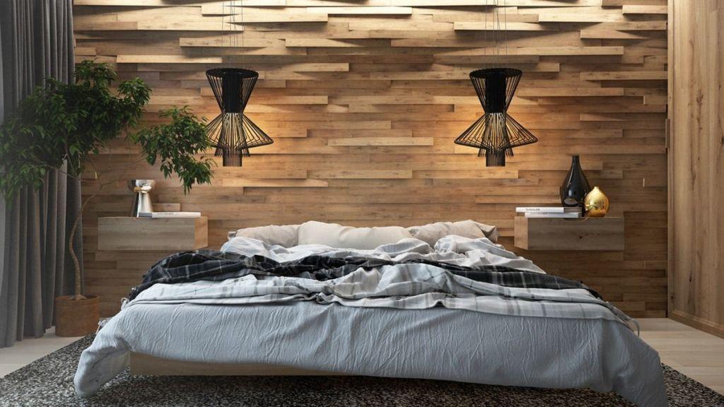 Акцентная стена из натуральной древесины