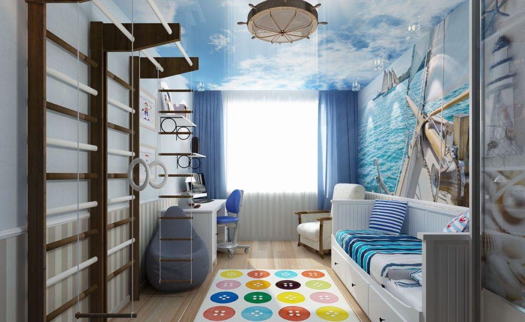 Дизайн детской в морском стиле, небо над головой