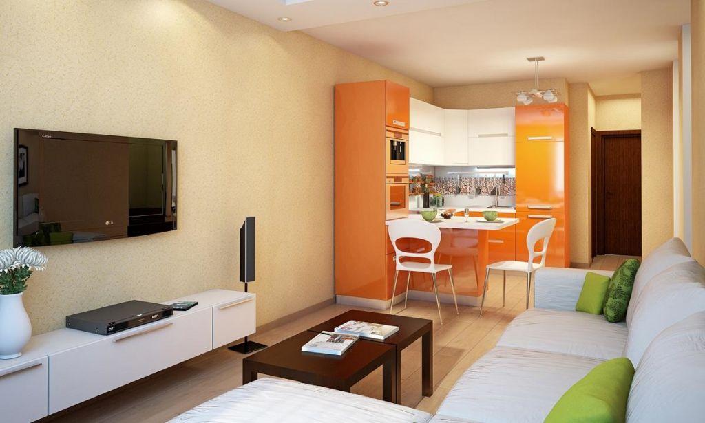 Рекомендуется делать отдельное освещение как для рабочей зоны кухни, так и для зоны гостиной