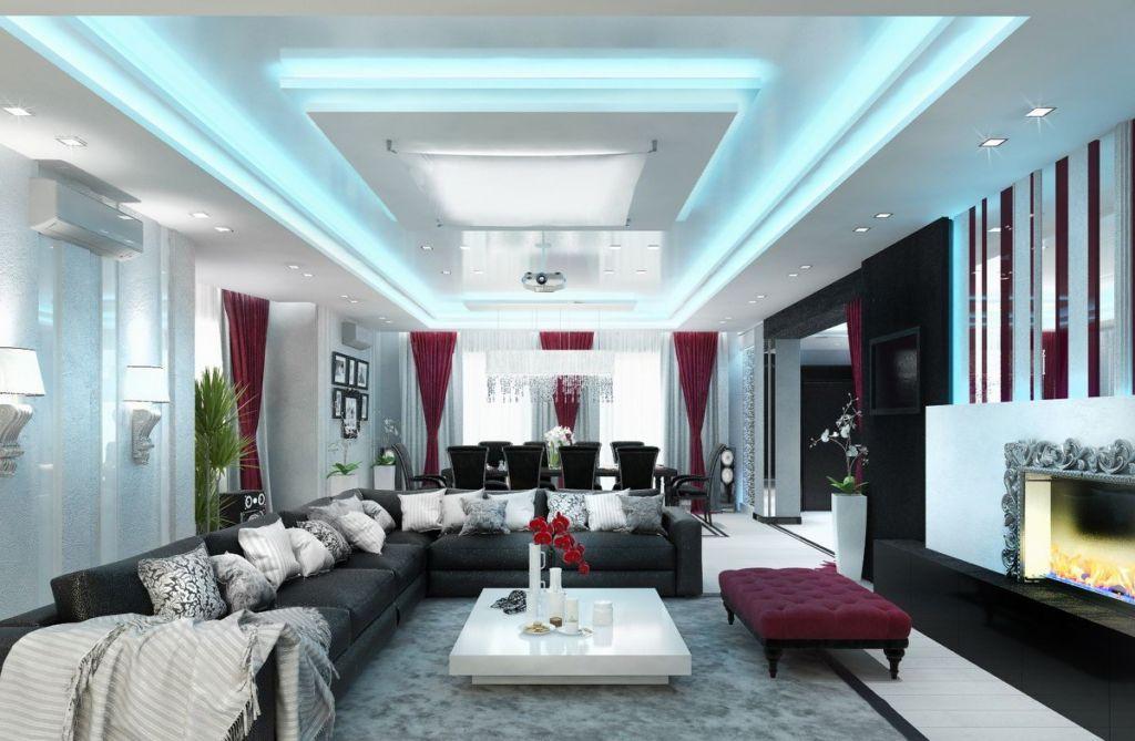 Современный разноплановый дизайн гостиной коттеджа