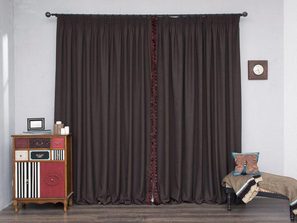 Длинные шоколадные шторы с бахромой