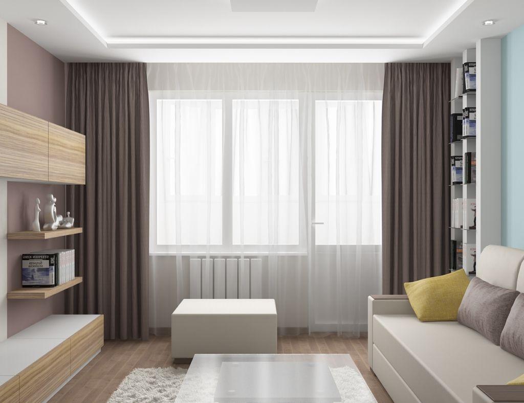 Лаконичный современный интерьер гостиной удачно дополнят шторы средней плотности