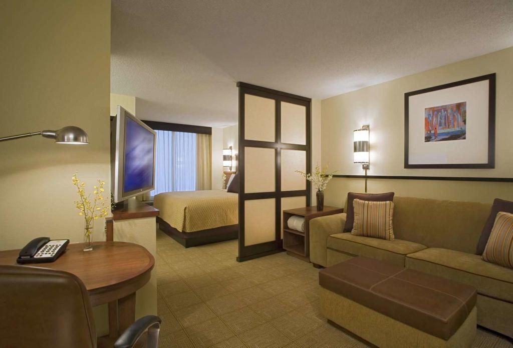 Вариант зонирования в гостиной спальне - ширма, спокойные цвета