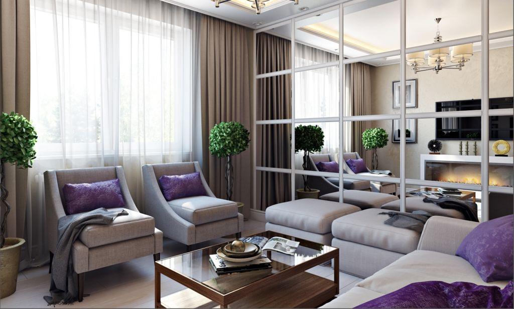Зеркала в интерьере гостиной способны зрительно расширить пространство