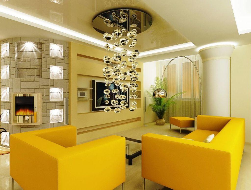 Современная люстра в интерьере гостиной