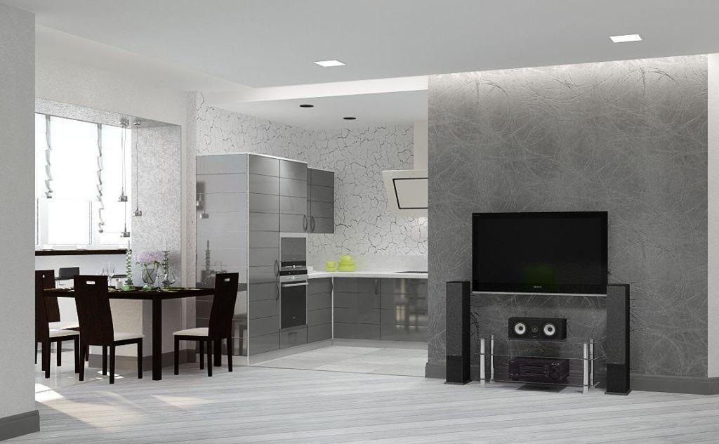 Кухня гостиная в ярко-сером цвете