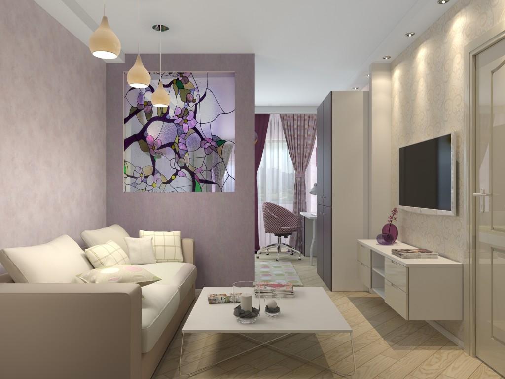 Дизайн гостиной с перегородкой в хрущевке