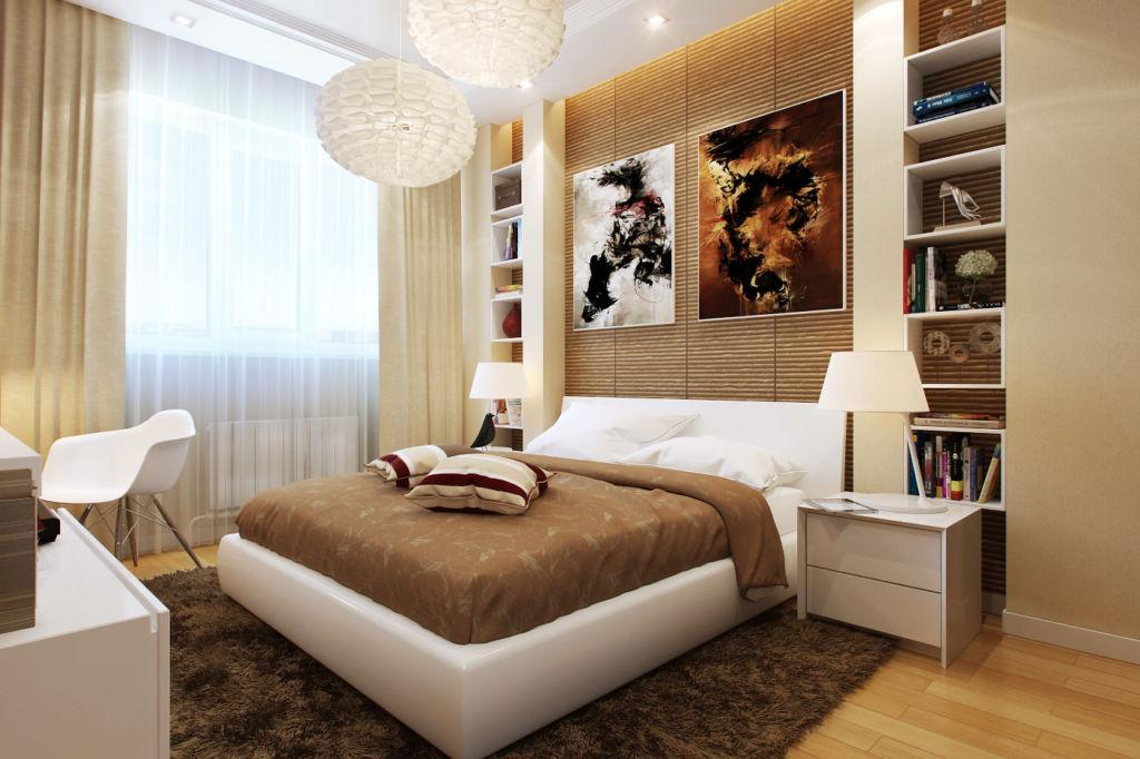 Спальня в коричнево - белых тонах