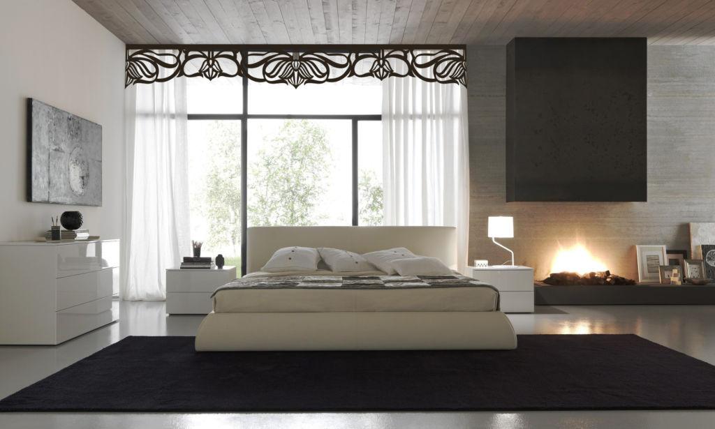 Красивая белая спальня в стиле модерн