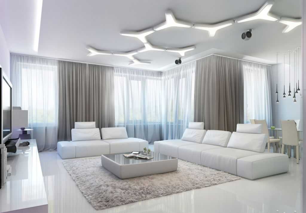 Белый пол в интерьере гостиной может заслуженно стать главным её украшением