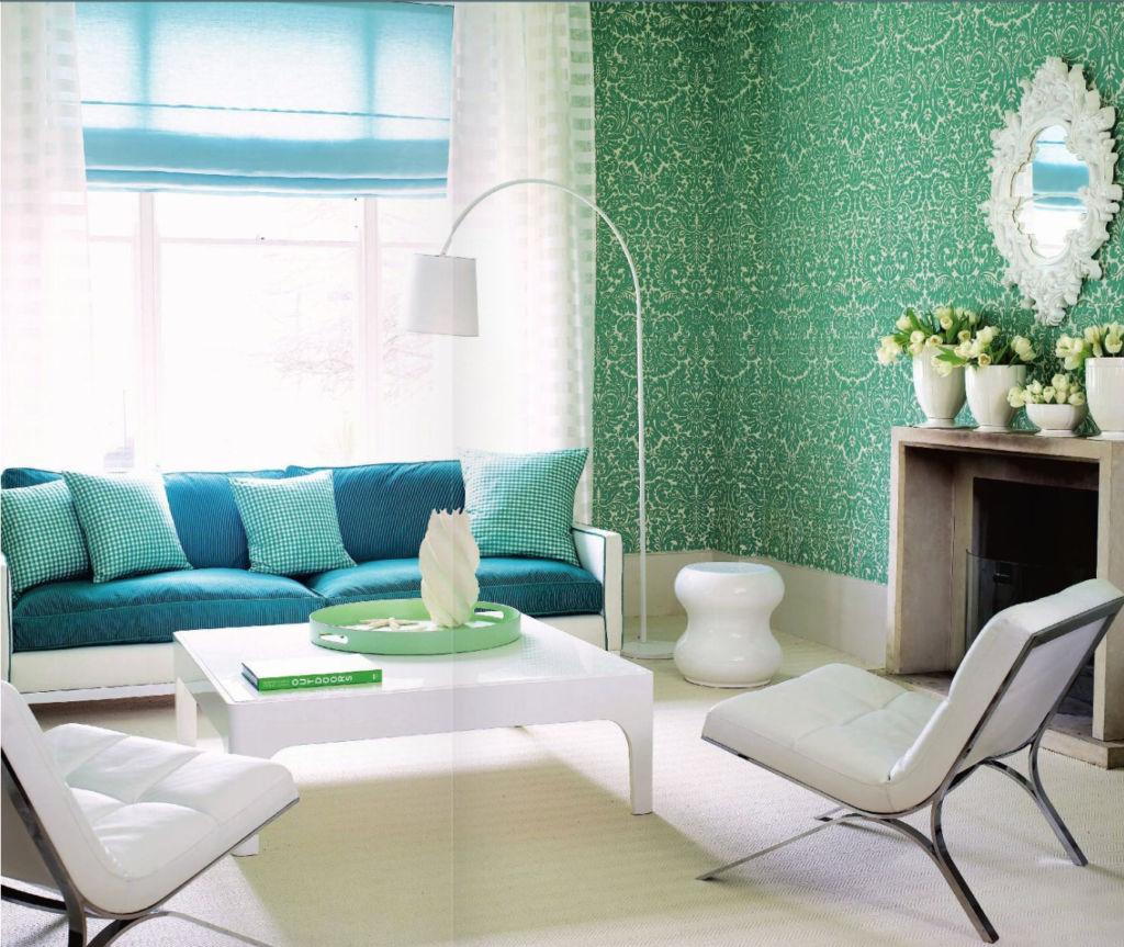 Бирюза в зеленой спальне