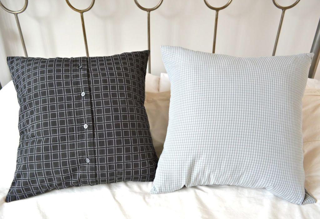 Декоративная подушка из рубашки
