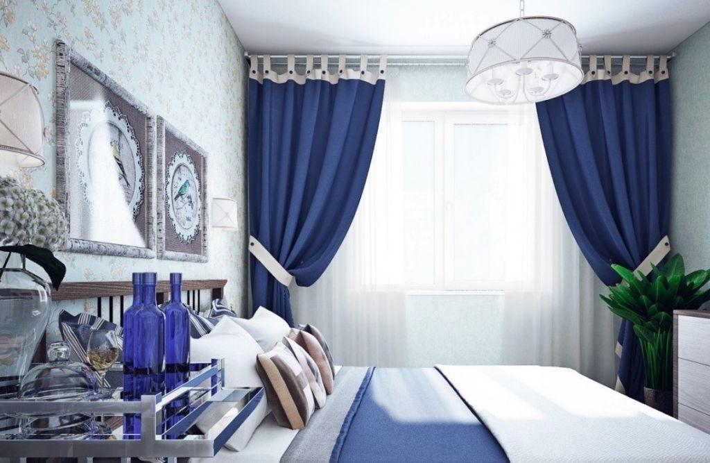 Синяя спальня в классическом стиле