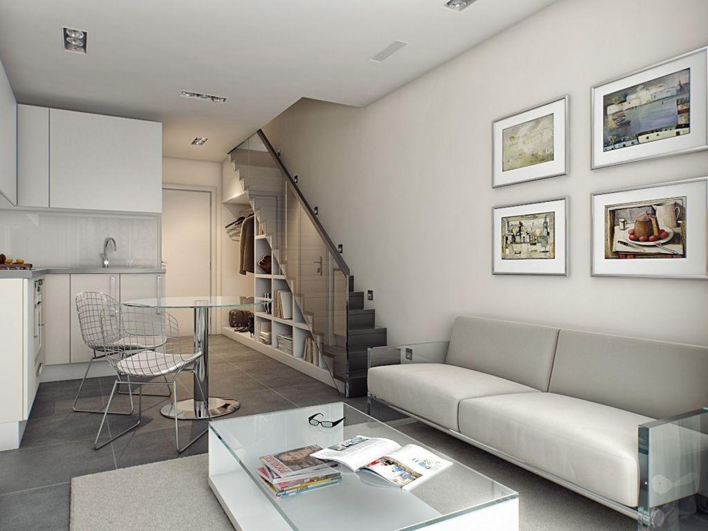 Интерьер двухуровневой квартиры с лестницей