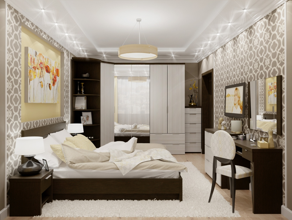 Стандартный набор мебели для спальни модерн – кровать, прикроватные тумбочки, зеркало, туалетный столик, комод