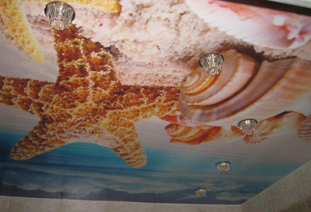 Фотопечать на натяжной потолок морская звезда в детской