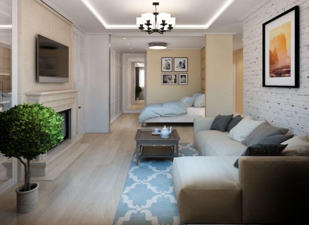 Гостиная-спальня в дизайне однокомнатной квартиры 50 кв. м