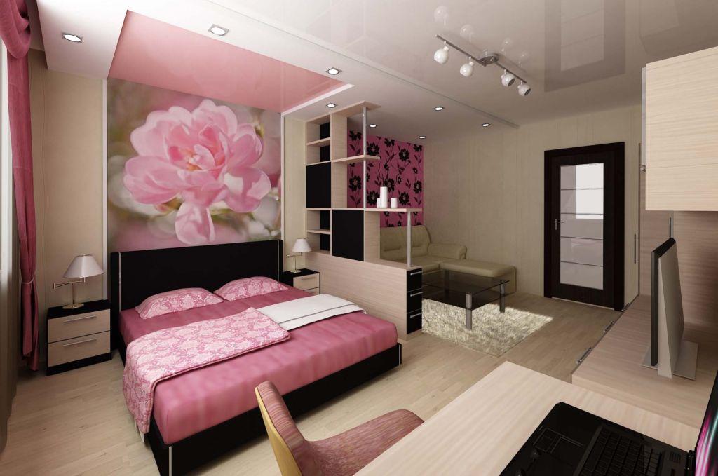 Интерьер гостиной спальни в однокомнатной квартире
